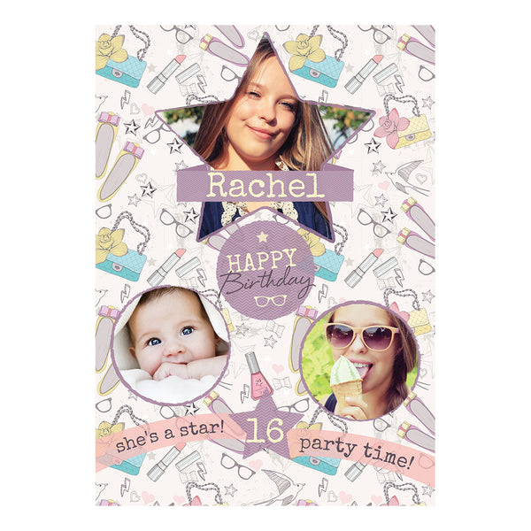 Fashion Star Poster <br/> with spaces for 3 photos and your name or message  Personalisable Poster Hello Party - All you need to make your party perfect! - Hello Party