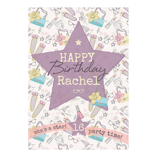 Fashion Star Poster <br/> with a space for your name or message  Personalisable Poster Hello Party - All you need to make your party perfect! - Hello Party