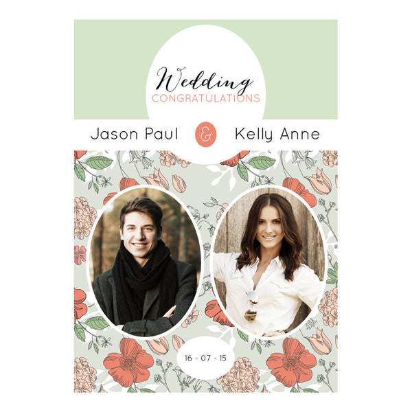 Wedding Wallpaper : Mint & Coral Poster <br/> with spaces for 2 photos and your name or message