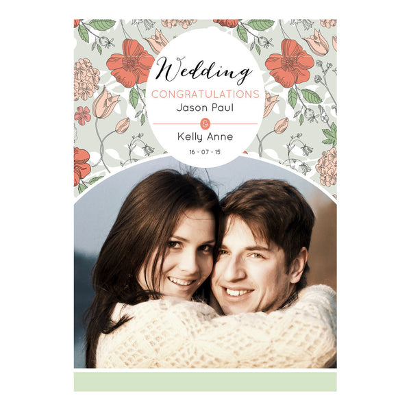 Wedding Wallpaper : Mint & Coral Poster <br/> with a space for 1 photo and your name or message