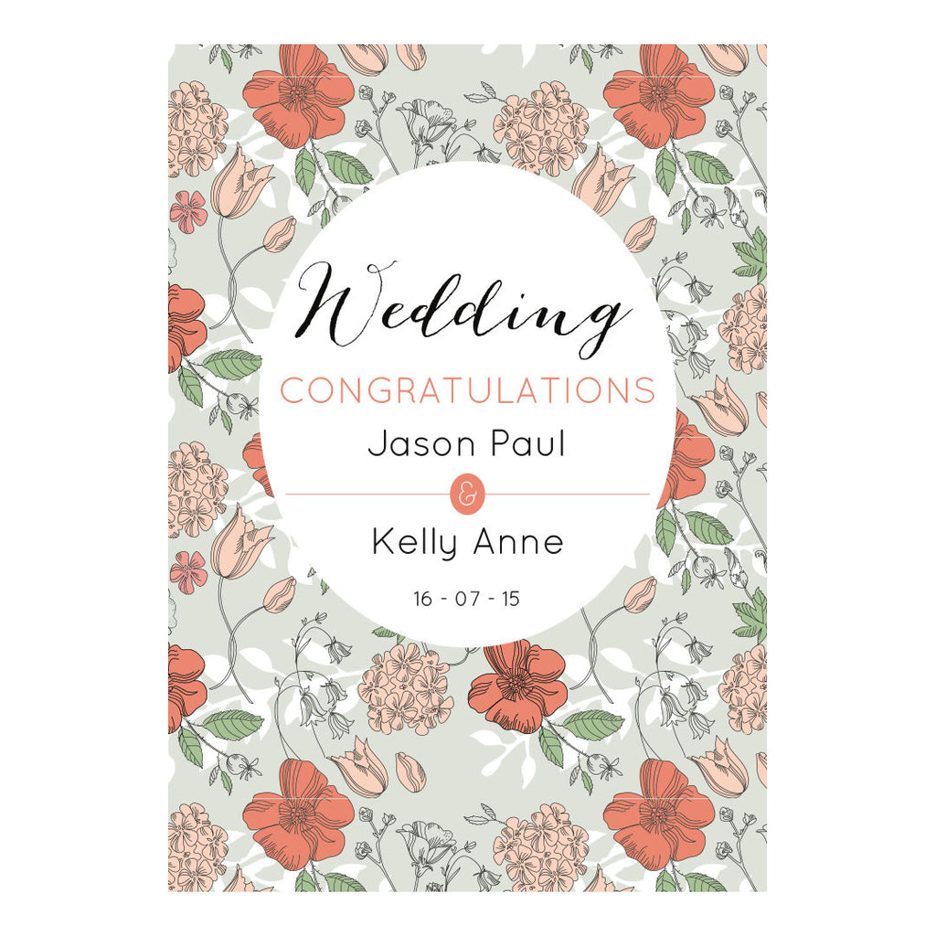 Wedding Wallpaper : Mint & Coral Poster <br/> with a space for your name or message