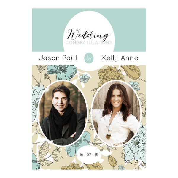 Wedding Wallpaper : Blue & Gold Poster <br/> with spaces for 2 photos and your name or message