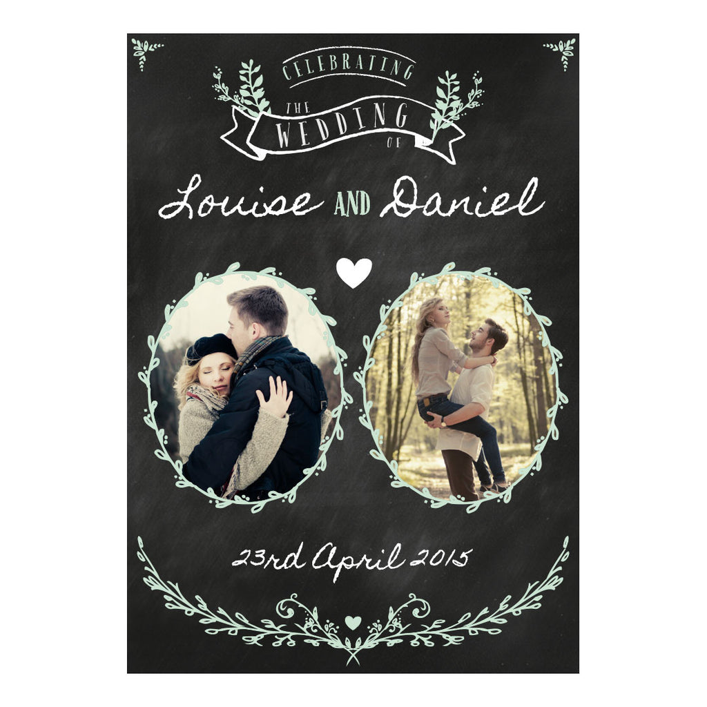 Blackboard Wedding Banner <br/> with spaces for 2 photos and your name or message - Hello Party - All you need to make your party perfect!