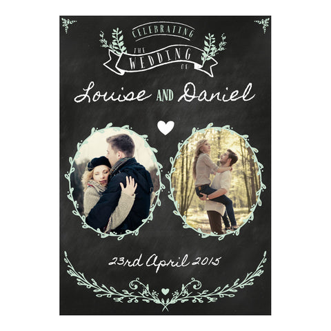 Blackboard Wedding Poster <br/> with spaces for 2 photos and your name or message  Personalisable Poster Hello Party - All you need to make your party perfect! - Hello Party