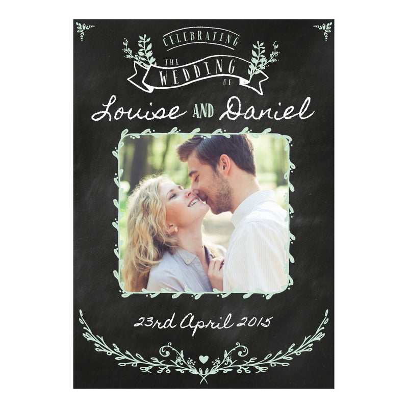 Blackboard Wedding Poster <br/> with a space for 1 photo and your name or message  Personalisable Poster Hello Party - All you need to make your party perfect! - Hello Party