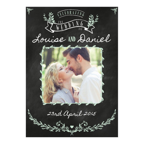 Blackboard Wedding Banner <br/> with a space for 1 photo and your name or message - Hello Party - All you need to make your party perfect!