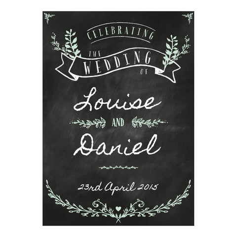 Blackboard Wedding Poster <br/> with a space for your name or message  Personalisable Poster Hello Party - All you need to make your party perfect! - Hello Party