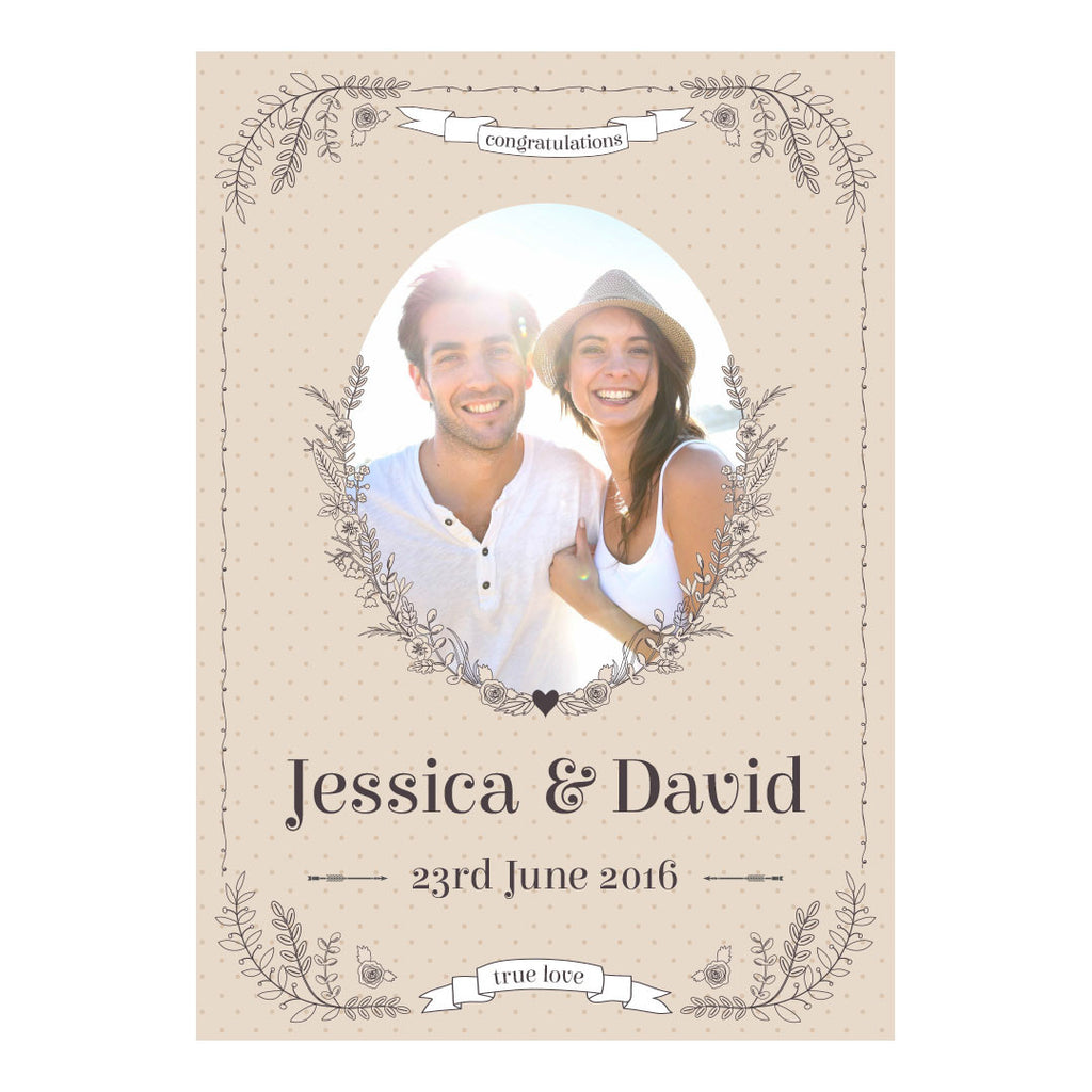 Classic Country Wedding Poster <br/> with a space for 1 photo and your name or message