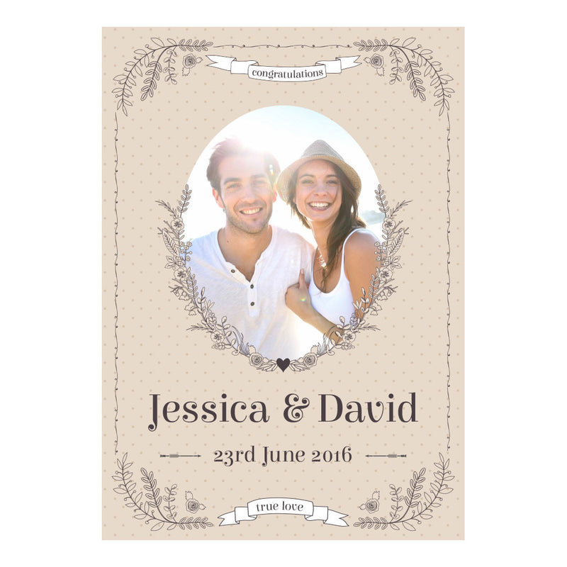 Classic Country Wedding Poster <br/> with a space for 1 photo and your name or message  Personalisable Poster Hello Party - All you need to make your party perfect! - Hello Party