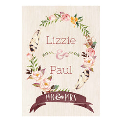 Feathers & Wedding Roses Poster <br/> with a space for your name or message  Personalisable Poster Hello Party - All you need to make your party perfect! - Hello Party