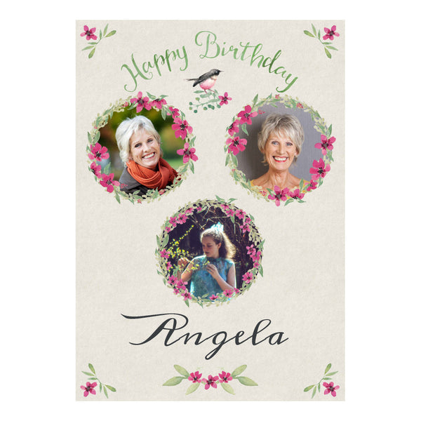 Watercolour Wreaths Poster <br/> with spaces for 3 photos and your name or message