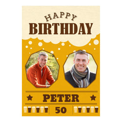 A Pint of Birthday Beer Poster <br/> with spaces for 2 photos and your name or message  Personalisable Poster Hello Party - All you need to make your party perfect! - Hello Party