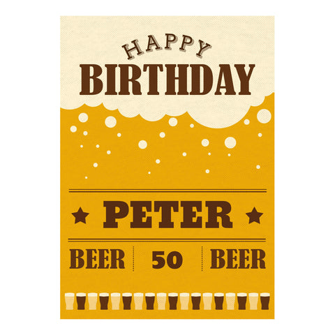 A Pint of Birthday Beer Poster <br/> with a space for your name or message  Personalisable Poster Hello Party - All you need to make your party perfect! - Hello Party