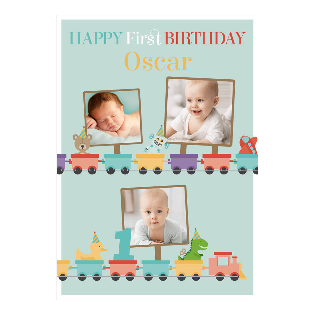 1st Birthday Party Train Banner <br/> with spaces for 3 photos and your name or message - Hello Party - All you need to make your party perfect!