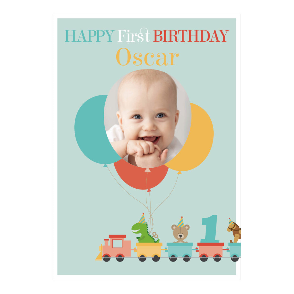 1st Birthday Party Train Poster <br/> with a space for 1 photo and your name or message  Personalisable Poster Hello Party - All you need to make your party perfect! - Hello Party