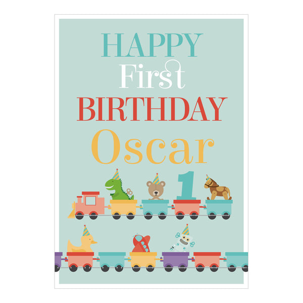 1st Birthday Party Train Poster <br/> with a space for your name or message  Personalisable Poster Hello Party - All you need to make your party perfect! - Hello Party