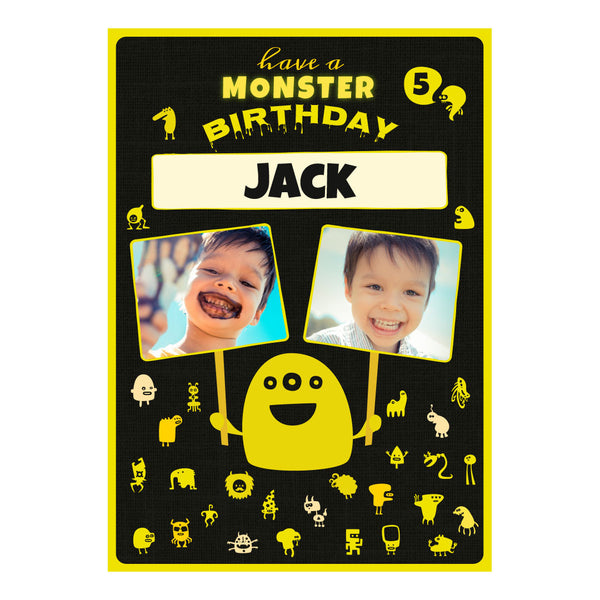 Monster Birthday Poster <br/> with spaces for 2 photos and your name or message