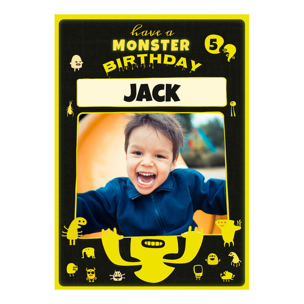 Monster Birthday Poster <br/> with a space for 1 photo and your name or message