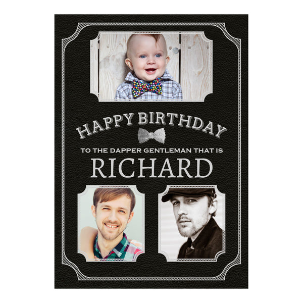 Dapper Gentleman Black Poster <br/> with spaces for 3 photos and your name or message  Personalisable Poster Hello Party - All you need to make your party perfect! - Hello Party