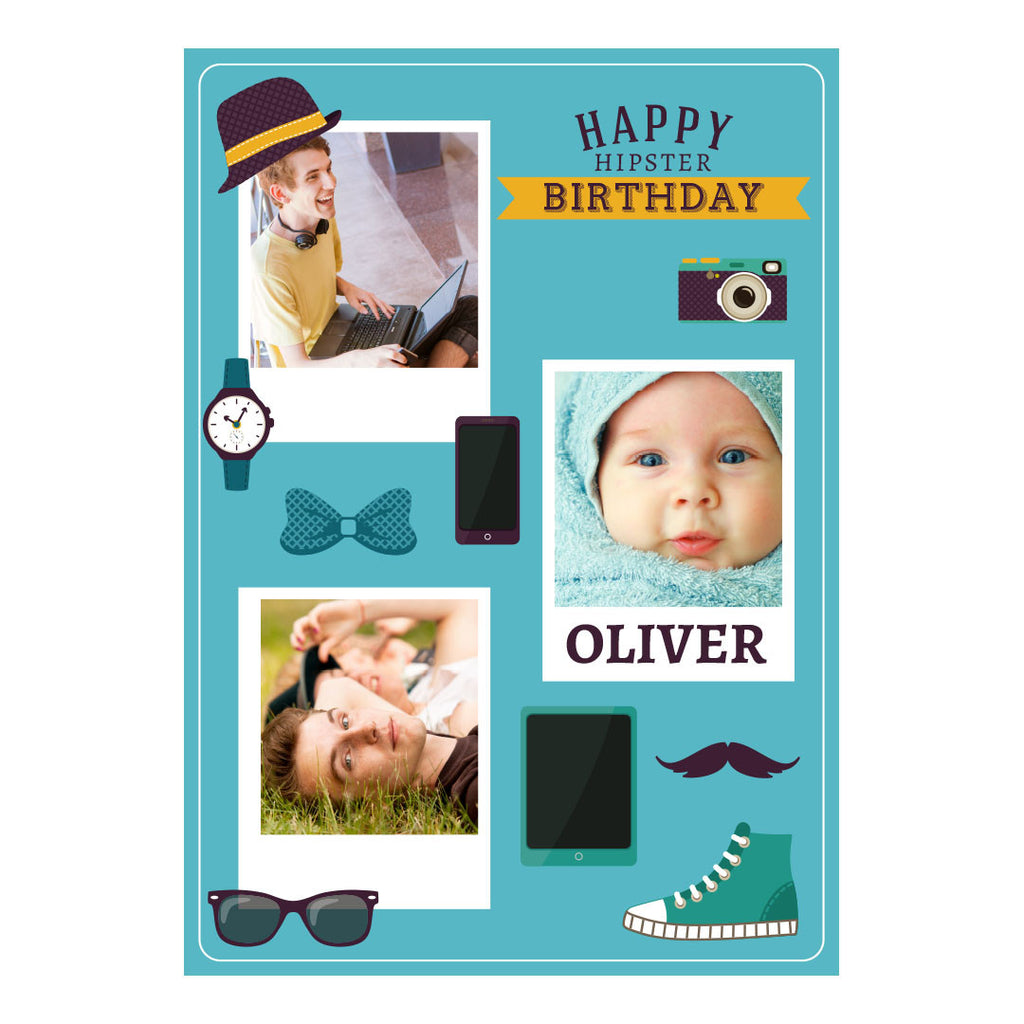 Happy Hipster Poster <br/> with spaces for 3 photos and your name or message