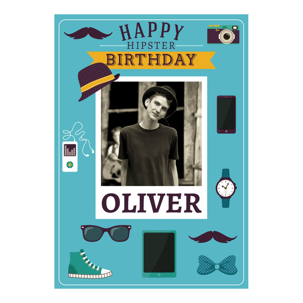 Happy Hipster Poster <br/> with a space for 1 photo and your name or message
