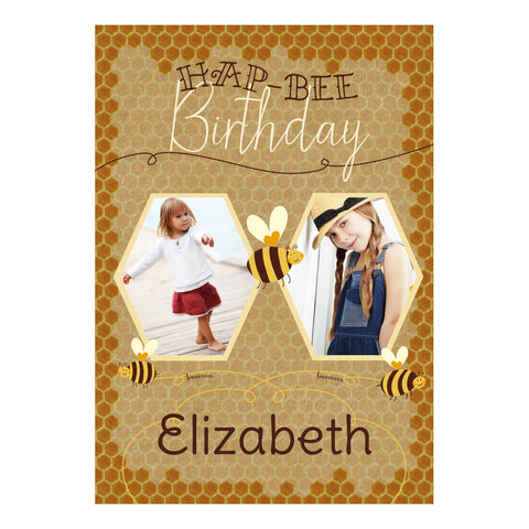 Hap-Bee Birthday Poster <br/> with spaces for 2 photos and your name or message
