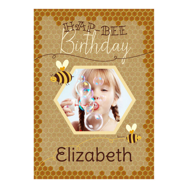 Hap-Bee Birthday Poster <br/> with a space for 1 photo and your name or message