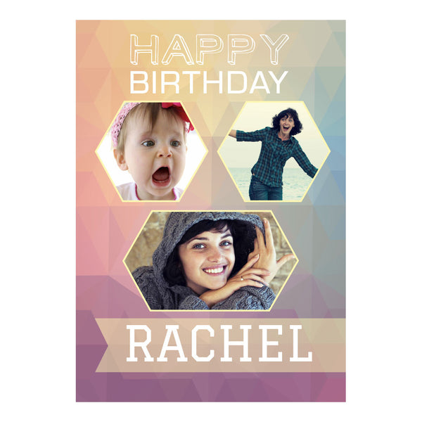 Geometric Pastels Poster <br/> with spaces for 3 photos and your name or message