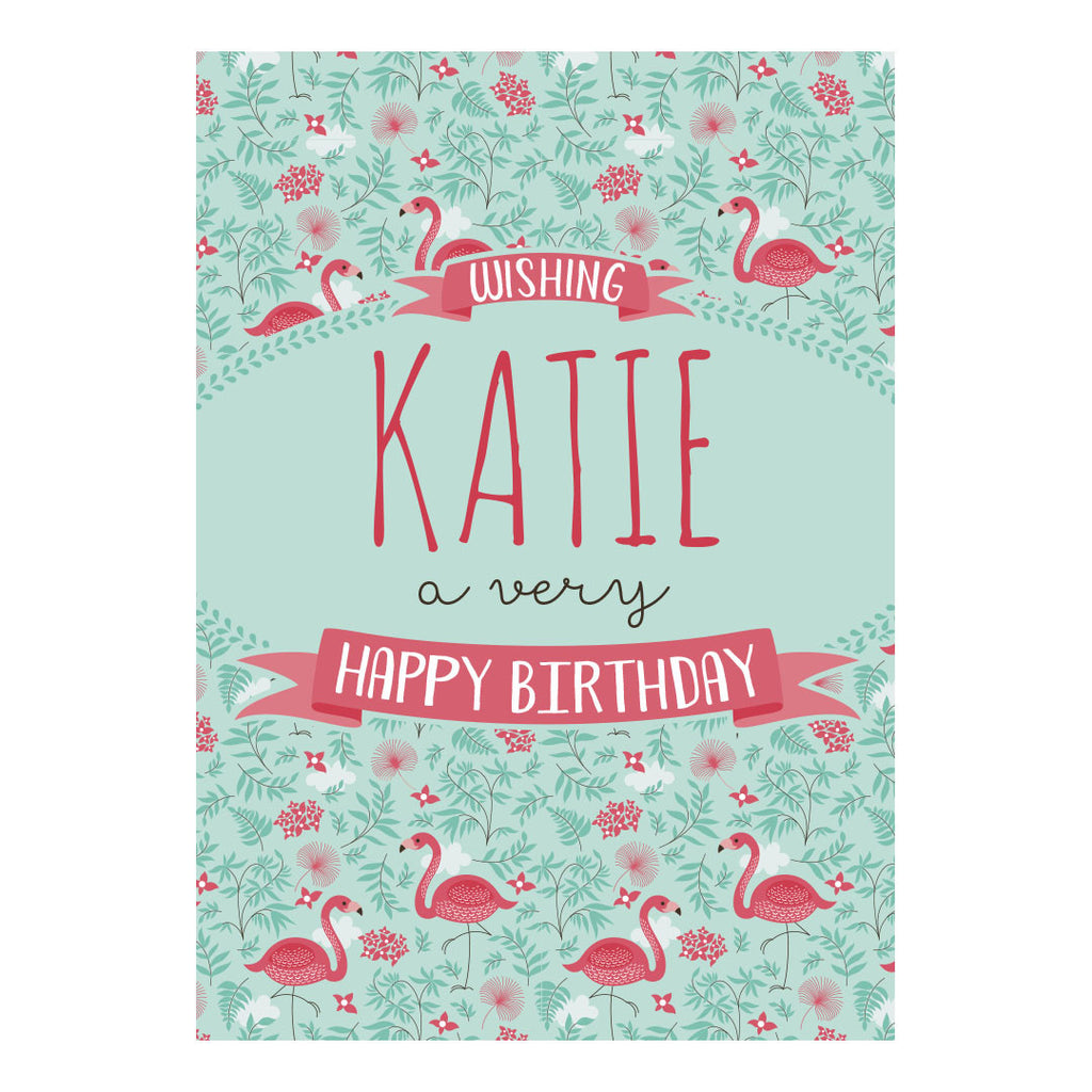 Pretty Flamingo Poster <br/> with a space for your name or message