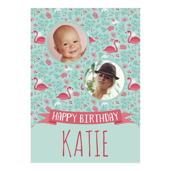 Pretty Flamingo Poster <br/> with spaces for 2 photos and your name or message