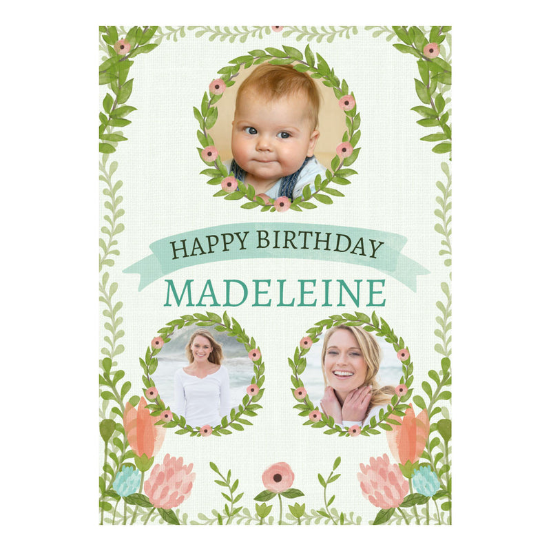 Dreamy Blooms with spaces for 3 photos and your name or message  Personalisable Poster Hello Party - All you need to make your party perfect! - Hello Party