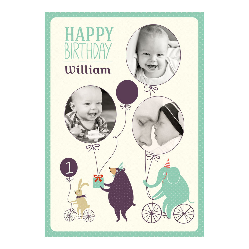 Dotty Creatures Poster <br/> with spaces for 3 photos and your name or message  Personalisable Poster Hello Party - All you need to make your party perfect! - Hello Party