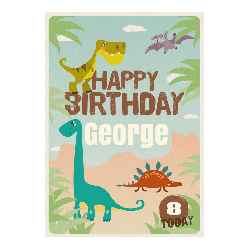 Roaring Birthday Dinosaurs Poster <br/> with a space for your name or message