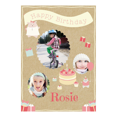 Cute Tea Party Poster <br/> with spaces for 3 photos and your name or message