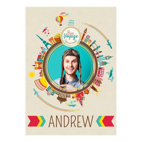 City Hopping Poster <br/> with a space for 1 photo and your name or message  Personalisable Poster Hello Party - All you need to make your party perfect! - Hello Party