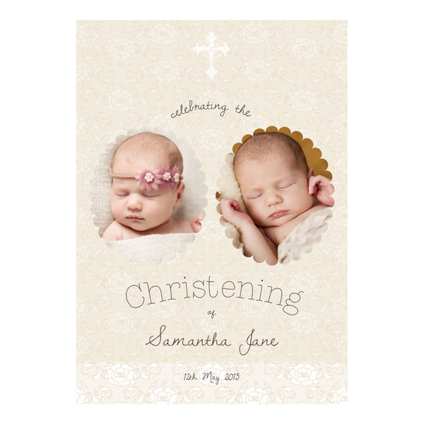 Lovely Lace Christening Poster <br/> with spaces for 2 photos and your name or message
