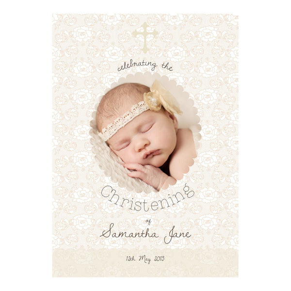 Lovely Lace Christening Poster <br/> with a space for 1 photo and your name or message