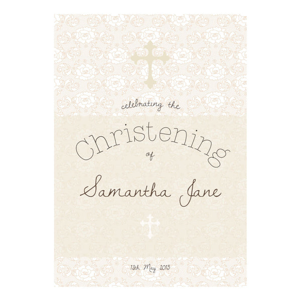 Lovely Lace Christening Poster <br/> with a space for your name or message