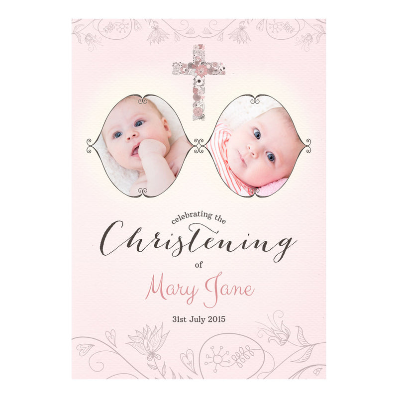 Floral Christening : Pink Poster <br/> with spaces for 2 photos and your name or message  Personalisable Poster Hello Party - All you need to make your party perfect! - Hello Party
