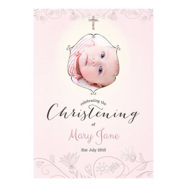 Floral Christening : Pink Poster <br/> with a space for 1 photo and your name or message  Personalisable Poster Hello Party - All you need to make your party perfect! - Hello Party