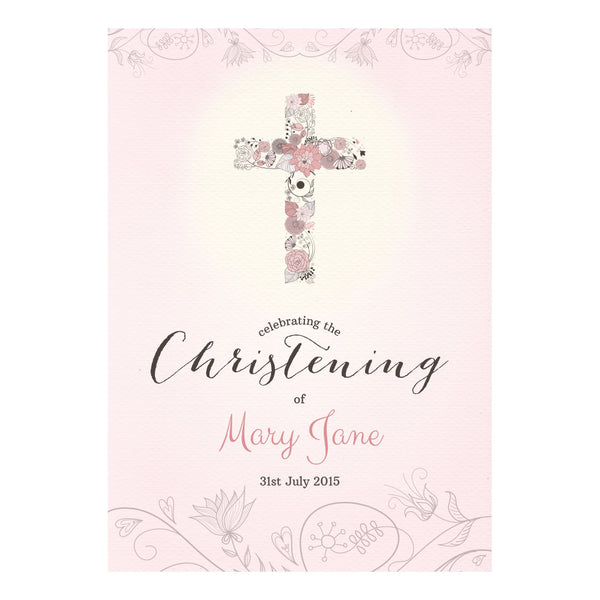 Floral Christening : Pink Poster <br/> with a space for your name or message  Personalisable Poster Hello Party - All you need to make your party perfect! - Hello Party