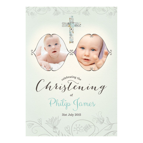 Floral Christening : Blue Poster <br/> with spaces for 2 photos and your name or message  Personalisable Poster Hello Party - All you need to make your party perfect! - Hello Party