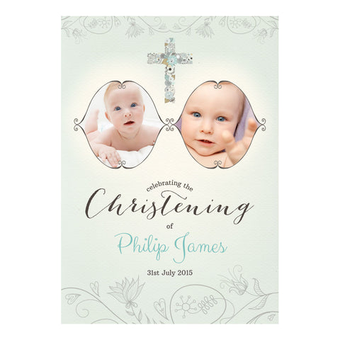 Floral Christening : Blue Poster <br/> with spaces for 2 photos and your name or message