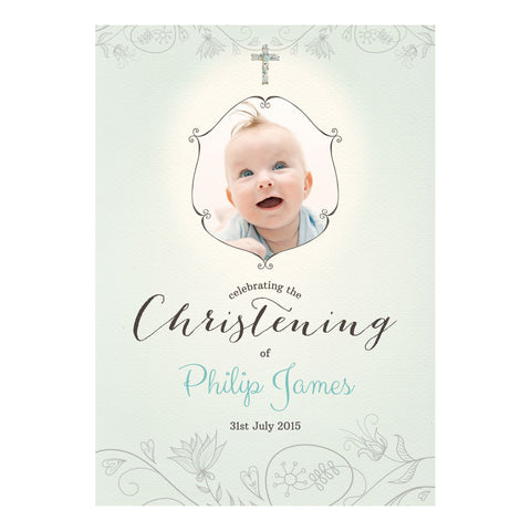 Floral Christening : Blue Poster <br/> with a space for 1 photo and your name or message