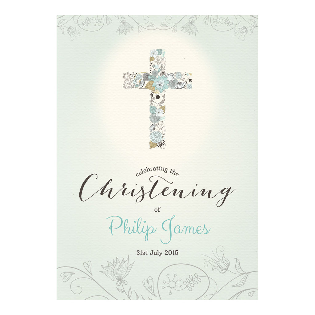 Floral Christening : Blue Poster <br/> with a space for your name or message