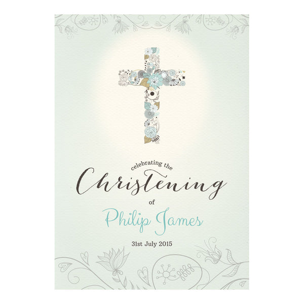Floral Christening : Blue Poster <br/> with a space for your name or message  Personalisable Poster Hello Party - All you need to make your party perfect! - Hello Party