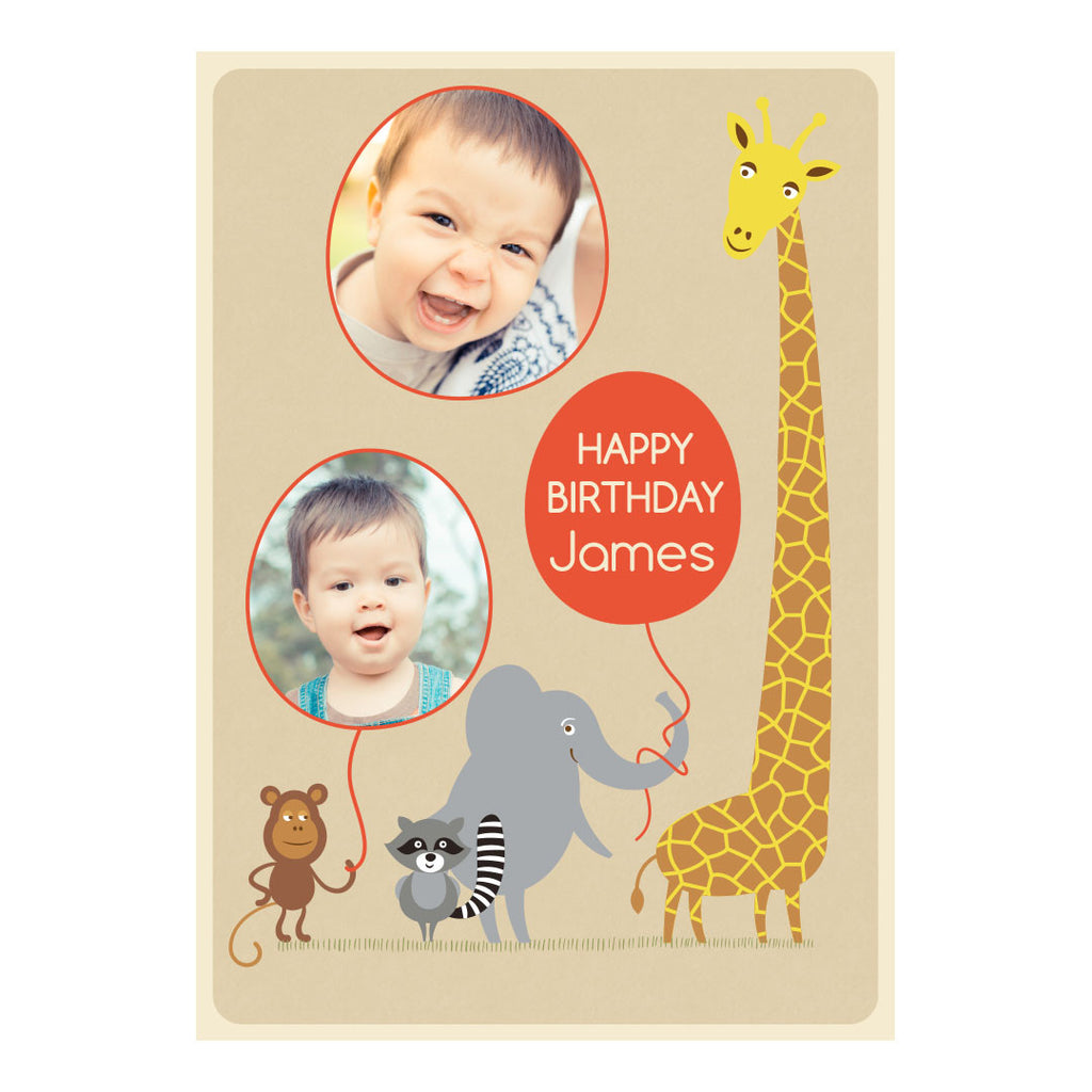 Cheeky Animal Party Banner <br/> with spaces for 2 photos and your name or message - Hello Party - All you need to make your party perfect!