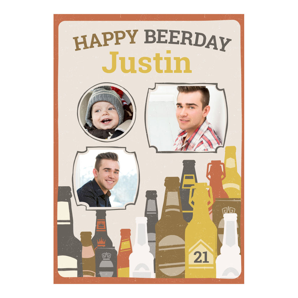 Bottles of Beer Banner <br/> with spaces for 3 photos and your name or message - Hello Party - All you need to make your party perfect!