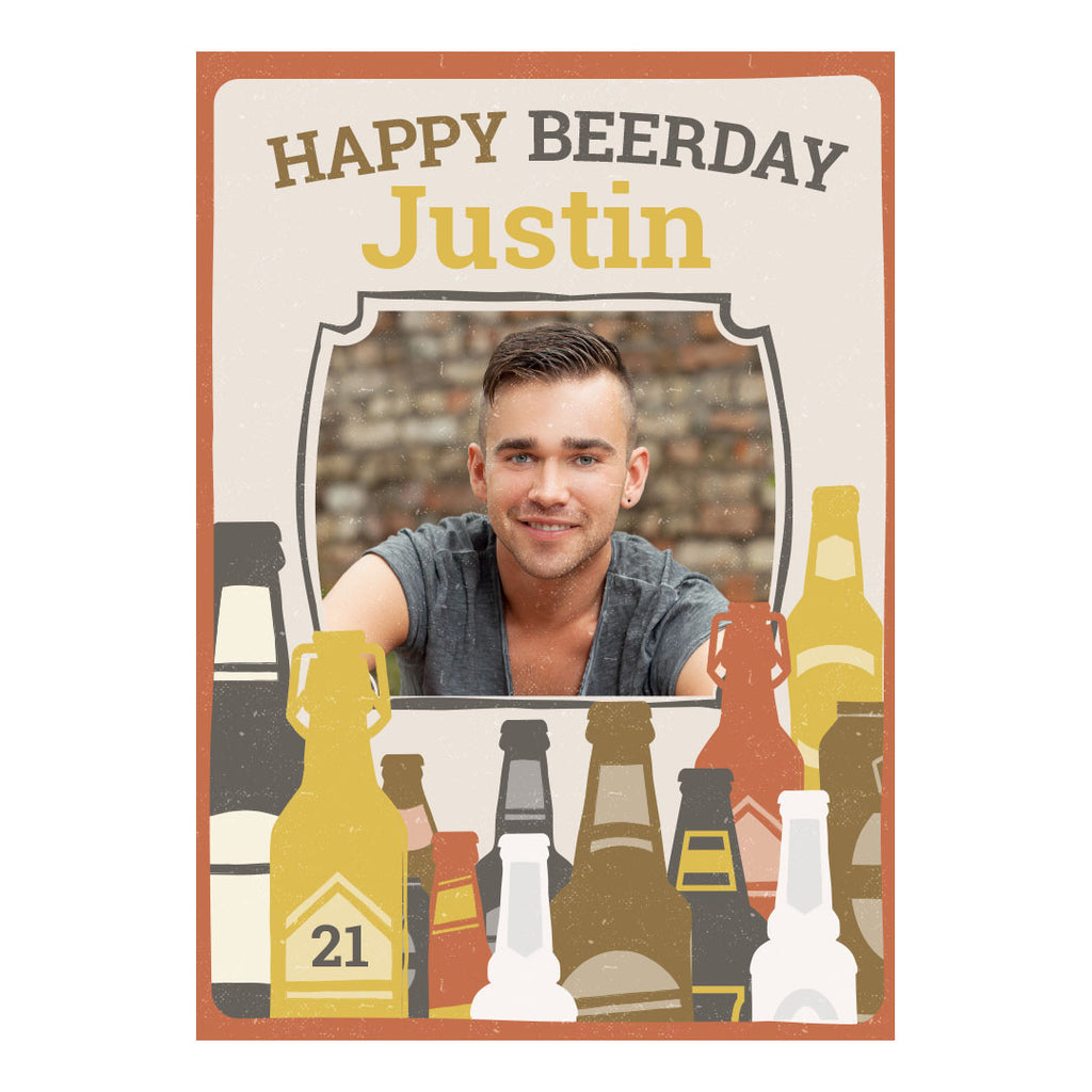 Bottles of Beer Banner <br/> with a space for 1 photo and your name or message - Hello Party - All you need to make your party perfect!