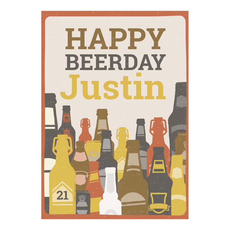 Bottles of Beer Poster <br/> with a space for your name or message  Personalisable Poster Hello Party - All you need to make your party perfect! - Hello Party
